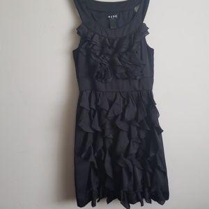 BCBG Paris black sleeveless ruffle coctail dress